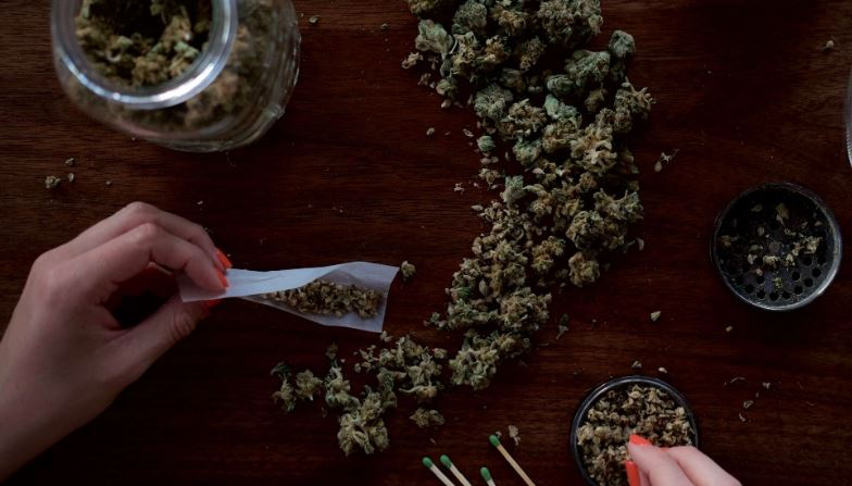 lady preparing marijuana